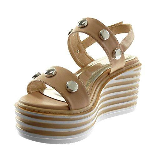 Angkorly Scarpe Moda Sandali Mules con Cinturino Alla Caviglia Zeppe Donna Borchiati Tanga Tacco Zeppa Piattaforma 7.5 cm Beige