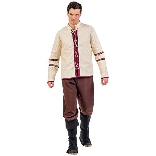 Mittelalter Bauern Kostüm Herren 3tlg. Hose, Stulpen, Hemd zum Karneval beige braun - XL