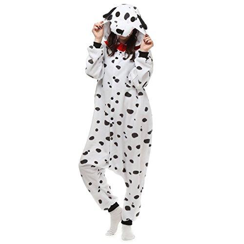 Casa Onesie Licorne Pijamas Kigurumi Pijama Animal Unisexo para Adultos con Capucha Traje de Cosplay Disfraz para Festival de Carnaval Halloween Navidad Dálmatas M
