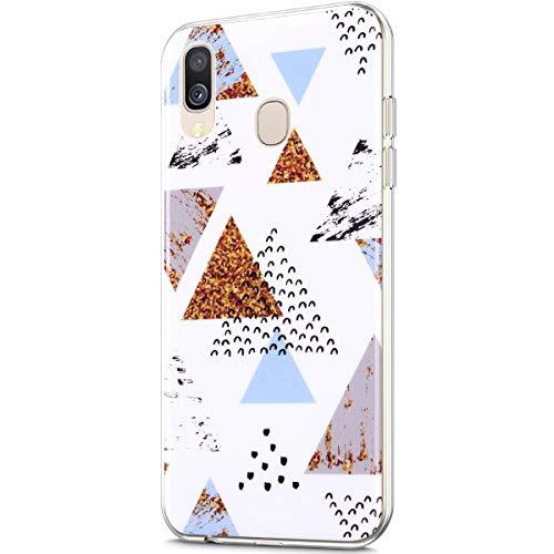 Marmor Hülle Kompatibel mit Galaxy A40 Hülle,Matt Marmor Stein Marble IMD Weiche Flexible Silikon Handyhülle Rückschale Durchsichtige Bumper Handy Hülle Case Tasche Schutzhülle,Marmor R
