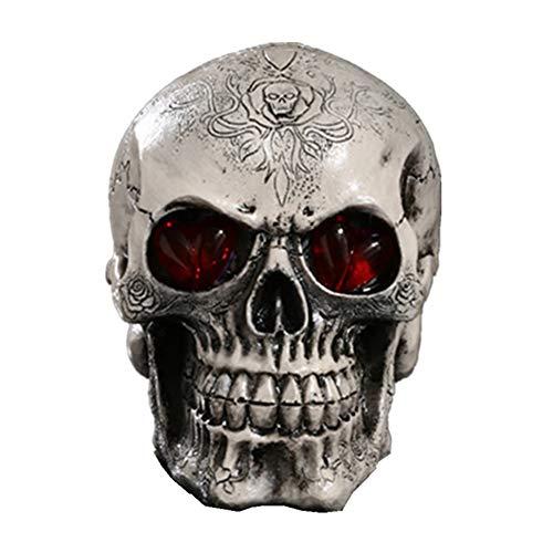 Kostüm Augen Spider - PINGTANG Resin Menschlichen Schädel mit LED Leuchten Blinkende Augen Replik Skeleton Modell für Haus Tisch Ornament Halloween-Dekor,B