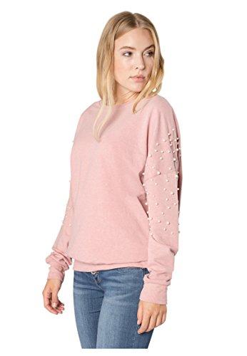 Rock Angel Damen Perlen Sweatshirt SUE I Eleganter Oversize Sweat-Pullover in Grau & Rosé middle-rose S