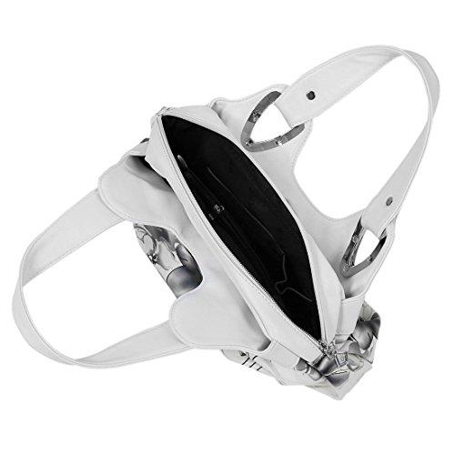 TOOGOO(R) Adatti la borsa di cuoio delle donne PU Bag Tote Bag Borse di stampa Satchel -Dream cartamo + Handstrap bianco Inchiostro grigio&bianco Handstrap
