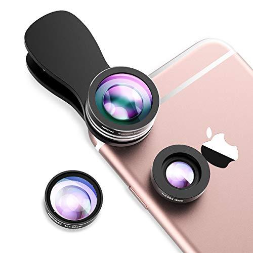Mpow 3 in 1 Clip-On Fischaugen Objektiv 180 Grad Fischauge Objektiv Fisheye Supreme + 0.65X Weitwinkel + 10X Makro-Objektiv für iPhone 7 7Plus 6S 6S Plus 6 Huawei und mehr Android Smartphone