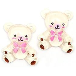 Pendientes de clip-en - Idin oso de peluche blanco con lazo rosa pendientes de clip-en (aprox. 17 x 20 mm)