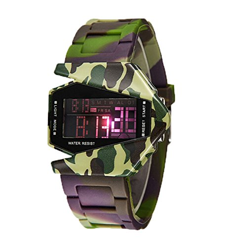 KobwaTM-SYNOKE-Air-Planed-Shaped-Light-Digital-Waist-Watchcamouflage-with-Kobwas-Keyring