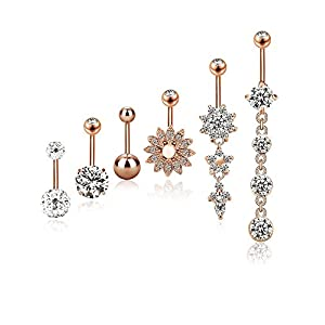 6 Stück 14G Bauchnabel Ringe Edelstahl Bauch Ringe Gebogen Nabel Barbell Piercing Schmuck für Damen, Rose Gold, 6 Styles