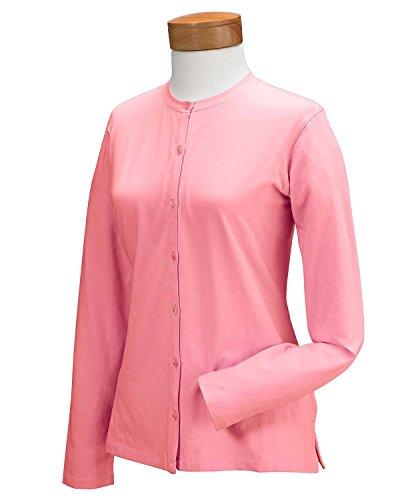 Devon & Jones Damen Baumwolle Lycra Jersey-Stretch Long Sleeve Cardigan Gr. Small, Petal (Stretch Sleeve Cardigan Jersey Long)