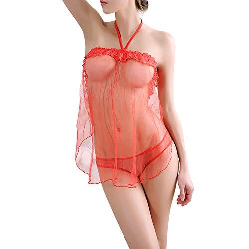 Beginfu Frauen Sexy Nachtwäsche Lose Schlinge Perspektive Bandage Bow Sets Erotische Nachthemd + Unterwäsche Tanga Höschen Damen Sexy Unterwäsche Body Nachthemd, Frauen aushöhlen Elastischen BH