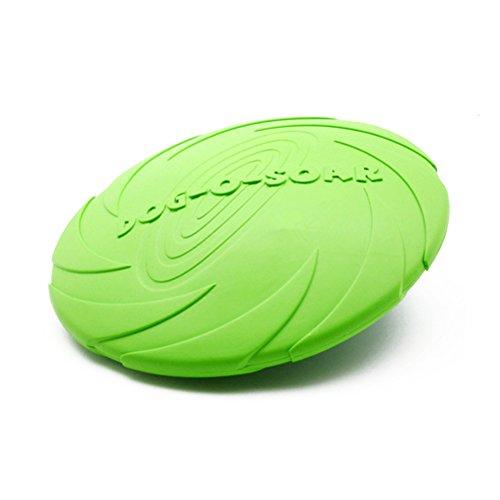 OULII Vuelo discos juguetes el depósito de agua para perros mascotas juguete Frisbee, seguridad suave - tamaño L (verde)