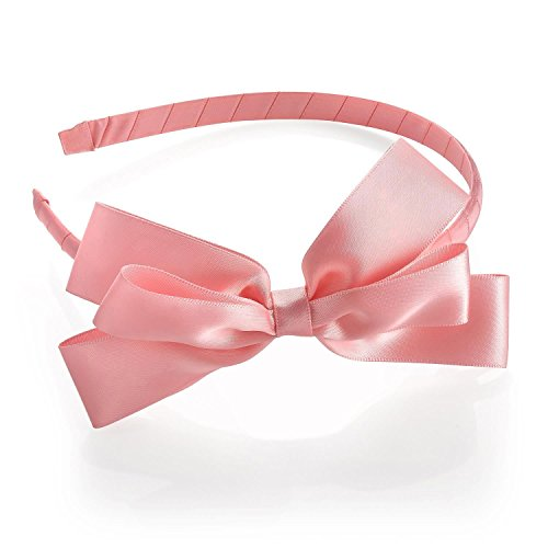 Chocolate Pickle® Neu Damen Satin Effekt Bogen Farbband 13cm Stirnband Zubehör Pink (Farbband Bogen Und)