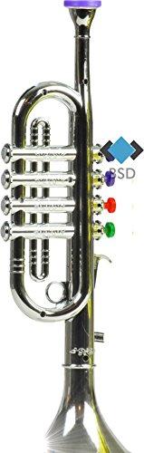 BSD Trompete mit 4 farbigen Ventilen - Instrument Spielzeug - erste Trompete für Ihr Kinder - Silber