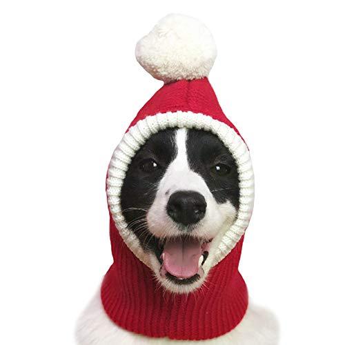 (FLAdorepet Weihnachtsmütze für große mittelgroße Hunde, warm, Winterhut, Nackenwärmer und Stirnband, Schutz für Golden Retriever Labrador, XL(Suit for Large Dog), rot)