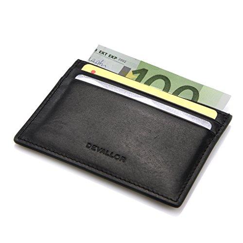 DEVALLOR® Flaches Kreditkartenetui aus italienischem Echtleder, Kleine Dünne Geldbörse Portemonnaie, schwarz -
