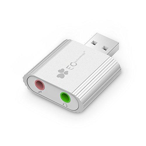 Adaptateur Audio USB EC Technology Carte Son USB Externe vers 3,5mm Audio Stéréo Jack pour Haut-parleur/Casque Stéréo et Micro Aluminium, Puce C-Media, Compatible Windows, Mac et Linux - Argent