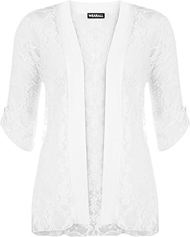 WearAll - Cardigan ouvert en dentelle à manches courtes - Cardigans - Femmes - Blanc - 48-50