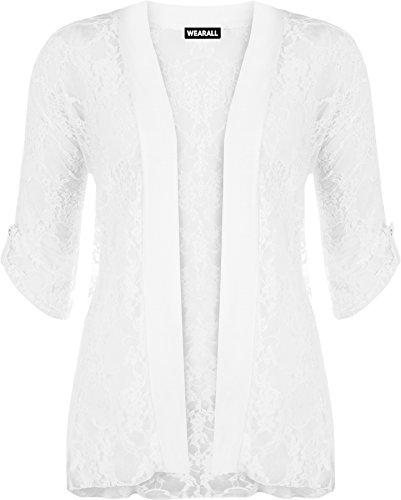 WearAll - Damen Übergröße Spitze Offen Cardigan Top - Weiß - 50-52
