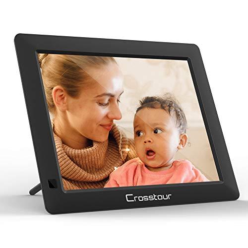 Digitaler Bilderrahmen, Crosstour 8 Zoll Fotorahmen 1280x800 HD Bildschirm mit Fernbedienung unterstützt USB/SD/Wiedergabe von Video/Musik/Foto in Mehreren Formaten/Uhr/Kalender/Alarm