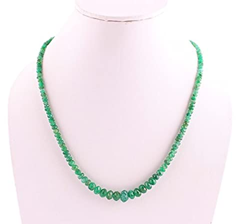 Neerupam Collection 63 Carat Natural Emerald Faceted Rondelle Beads Necklace