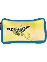 Snoogg Eco Friendly Canvas Black And Grey Butterfly Designer Student Pen Pencil Case Coin Purse Pouch Cosmetic...