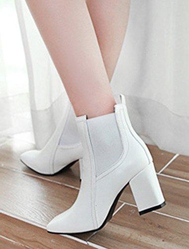 58e1a791f50 ... Femme Low Talon Bloc Carré Blanc Bout Bottines Boots Moyen Aisun Mode  pOwRfxx