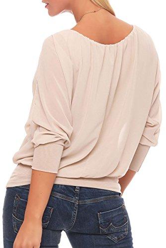 malito Damen Bluse mit passender Kette | Tunika mit ¾ Armen | Blusenshirt mit breitem Bund | Elegant �?Shirt 1133 Beige