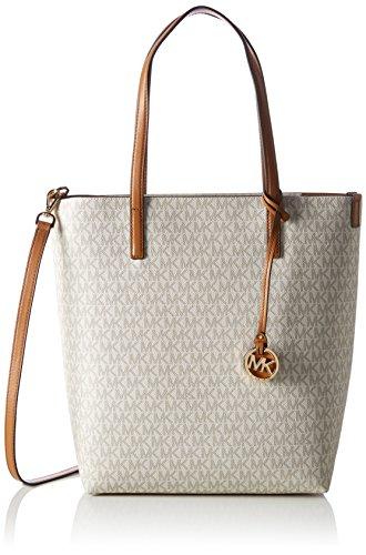 Michael Kors Damen Hayley Large Ns Top Zip Tote Business Tasche, Beige (Vanilla/Acorn), 13x34x28 cm (Top Zip-handtasche Large)
