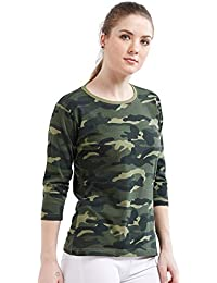 68f1ba10df Wear Your Opinion Women s Cotton Camouflage Army Military Print 3 4 th T- Shirt
