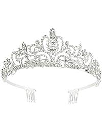 Makone Tiara Corona de Cristal con Diamantes de imitación Peine para Corona Nupcial Proms de Boda desfiles Princesas Fiesta de cumpleaños