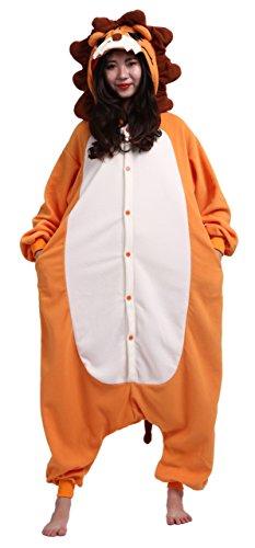 CuteOn Unisex Erwachsene Cartoon Tier Kigurumi Pyjamas Nachtwäsche Mit Kapuze Cosplay Kostüm Löwe XL for Höhe 178-187CM