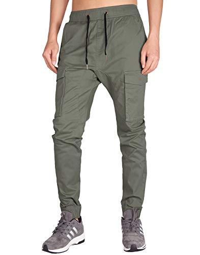 ITALY MORN Pantalones Jogging Cargo Pare Niño Slim Stretchy Algodon (Gris  Verde 32d714c67242