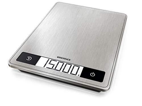 Soehnle Page Profi 200, digitale Küchenwaage, silber, Gewicht bis zu 15 kg (1-g-genau), Haushaltswaage mit patentierter Sensor-Touch-Funktion, elektronische Waage inkl. Batterien