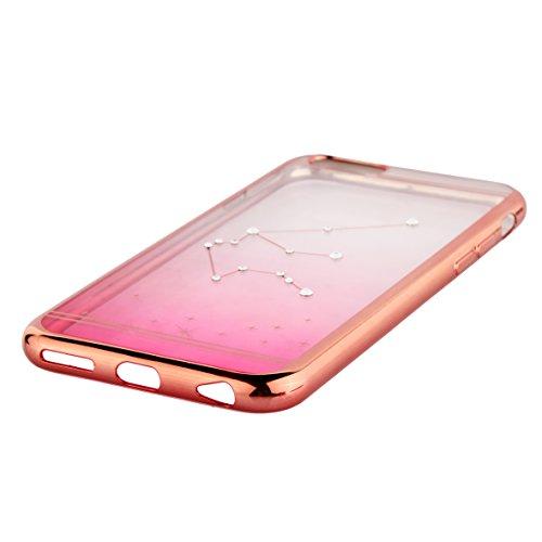 Coque pour iPhone 6/6S/6plus/6S Plus, aibousa® [Rose Astrologie] superweich, fine, diamant cristal, 12couleurs transition, transparent, Zwillinge, iPhone 6/6S (4.7'') Wassermann