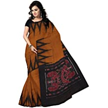 Odisha Saree Store Women's Kargil Cotton Saree with Blouse Piece (AMOD7434, Copper and Black, Free Size)