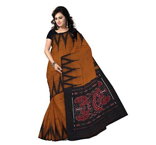 Odisha Saree Store Women,s Copper with Black color Kargil design cotton Saree.