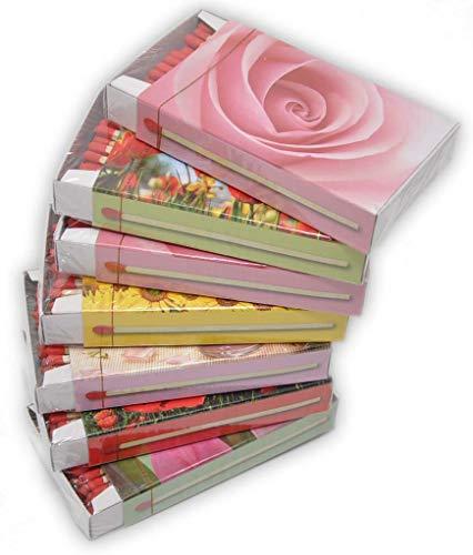 jameitop® XL Streichholzschachteln Blumen Motive: 7 x 50er Packungen/Rosen/Mohn/Sonnenblumen Streichhölzer Zündhölzer