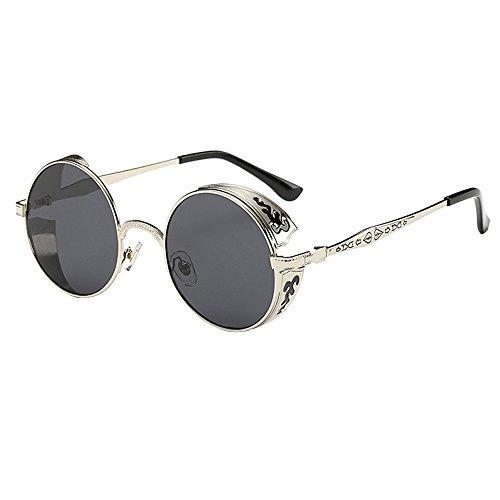 Longra Sonnenbrillen Retro Polarisierte Damen Sonnenbrille Herren Sonnenbrille Outdoor UV 400 Brille für Fahren Angeln Reisen Mode Rund Polarisiert Damen Herren Sonnenbrille Mirrored Lenses
