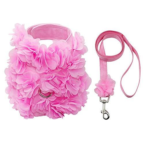Anjing - Arnés Perro diseño Flores Rosas Correa