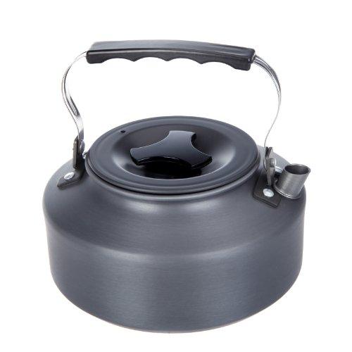 Hykis 1.1L beweglicher im Freien Kessel Camping Picknick Aluminiumwasser-Teekanne Kaffeekanne mit einem Beutel Mesh Camping Kochgeschirr Picknick-Sets