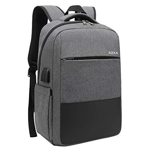 XQXA Mochila Unisex Impermeable para Ordenador Portátil de hasta 15.6 Pulgadas, con Puerto USB, conector para Auriculares y Bolsillo Antirrobo. Para los estudios, viajes o trabajo - Gris