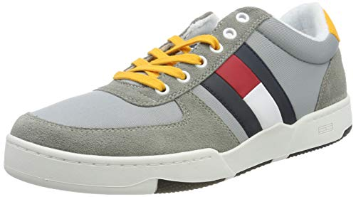 Hilfiger Denim Herren Casual Basket Sneaker, Grau (Light Grey 018), 45 EU Light Herren Schuhe
