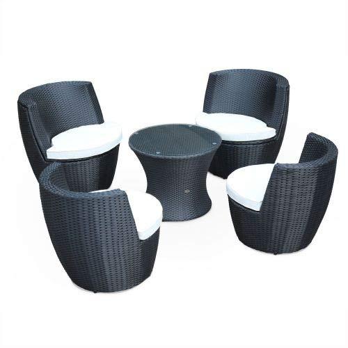 Salon de Jardin encastrable et empilable en résine tressée - Bologna - Noir, Coussins écrus - 4 Places - Une Petite Table Ronde et 4 fauteuils