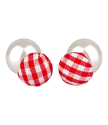 "SIX\""Oktoberfest\"" Front-Back-Ohrringe Vorne Hinten Ohrstecker Doppelperle mit Perle, rot-weiß kariert Wiesn Dirndl (475-587)"