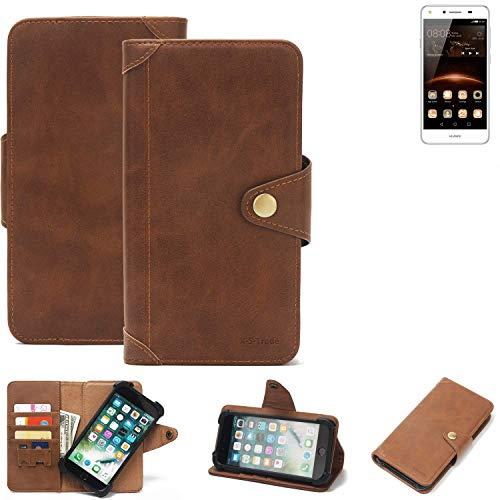 K-S-Trade® Handy Hülle Für Huawei Y5 II Single SIM Schutzhülle Walletcase Bookstyle Tasche Handyhülle Schutz Case Handytasche Wallet Flipcase Cover PU Braun (1x)