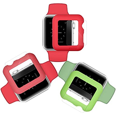Custodia per Apple Watch Case & Glass 38mm | iCASEIT Premium Quality: Slim & Light | Impact & Scratch Protection (Include 3 Screen Protectors) Apple Watch 38mm | Green, Orange & Pink