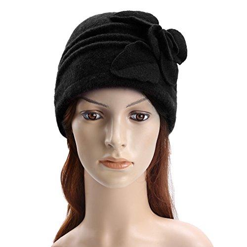 Vbiger Caliente Sombrero para Invierno Gorro de Lana con Flor de Decoración para Mujer (Negro)