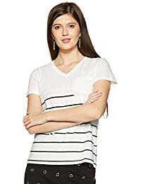 Symbol Amazon Brand Women's Striped Regular Fit T-Shirt