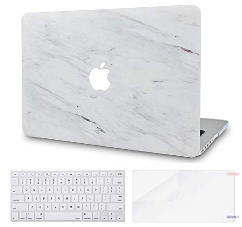 Luvcase MacBook Case mit Tastaturhülle Mehrfarbig Silk White Marble with Keyboard Cover and Screen Protector A1278 Old Pro 13