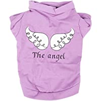 Haustier T-Shirt - SODIAL(R) Nette Kleine Tiere T-Shirt Welpen Katze/ Hund Kleidung Bester Engel des Druckes (lila, L)