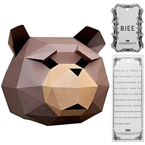 (BIEE DIY 3D Papier Maske Tierkopf Formen Halloween Party Kostüm Cosplay Gesichts Papier-Craft Kit)